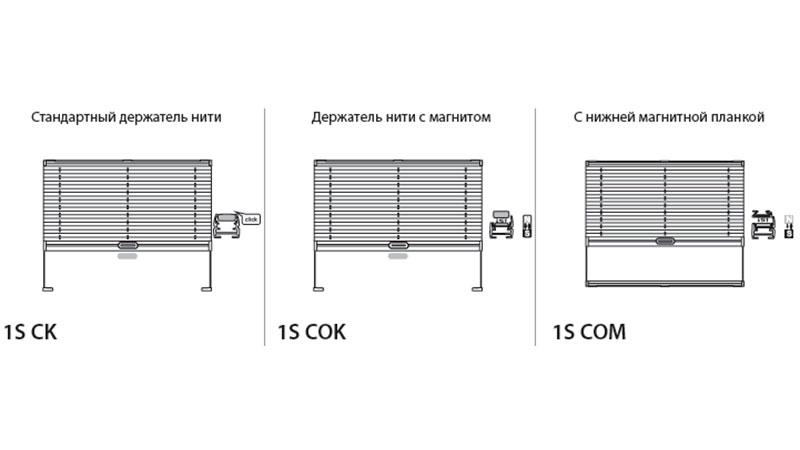 Системы для жалюзи плиссе 1S CK, 1S COK, 1S COM