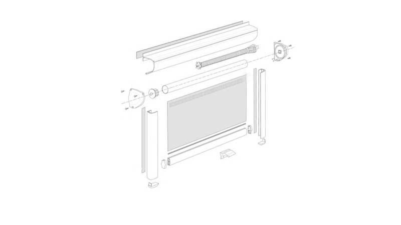 Схема рулонной шторы с пружинным механизмом